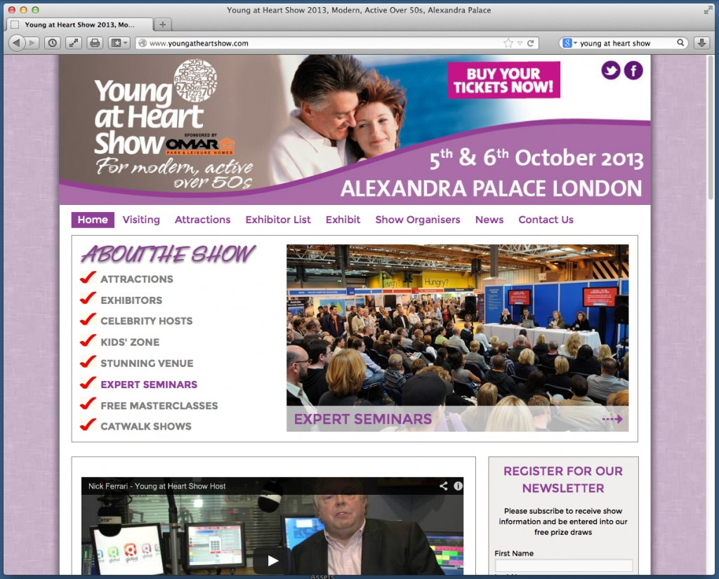 Site for the Young At Heart Show 2013