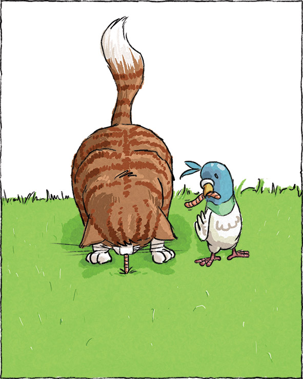 illustration of cat and bird